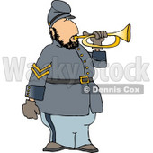 American Civil War Soldier Blowing Into a Bugle Horn Clipart © Dennis Cox #4316