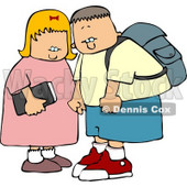 Brother and Sister On Their Way To Elementary School Clipart © Dennis Cox #4320