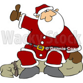 Royalty-Free (RF) Clipart Illustration of Santa Sitting On His Sack And Hitchhiking © djart #432128