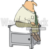 Royalty-Free (RF) Clipart Illustration of a Man Sitting Nervously On A Medical Table In A Doctors Office © Dennis Cox #432129