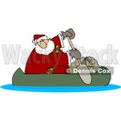 Royalty-Free (RF) Clipart Illustration of Santa In A Canoe With His Sack © Dennis Cox #432130