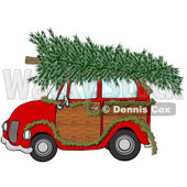 Royalty-Free (RF) Clipart Illustration of a Red Woody Car Decorated With A Garland And A Christmas Tree On The Roof © Dennis Cox #432131