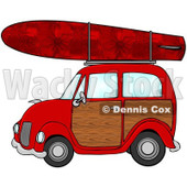 Royalty-Free (RF) Clipart Illustration of a Red Woody Car With A Red Starry Surfboard On The Roof © Dennis Cox #432133