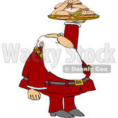 Royalty-Free (RF) Clipart Illustration of Santa Holding Up A Lunch Tray With Sandwiches © djart #432135