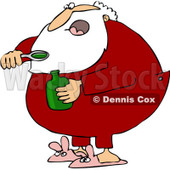 Royalty-Free (RF) Clipart Illustration of Santa Taking A Spoon Full Of Cough Syrup © djart #432247