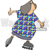 Obese Woman Skating On Inline Skates Clipart © Dennis Cox #4323