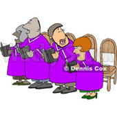 Men and Women in a Church Chorus Singing from a Bible Books Clipart © djart #4324