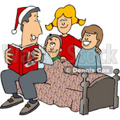 Father Reading a Bedtime Christmas Story to His Sons and Daughter Clipart © djart #4325
