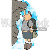 Male Hiker Hanging On a Mountainside Cliff Clipart © Dennis Cox #4328