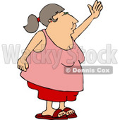 Obese Woman Waving Her Hand Goodbye or Hello Clipart © djart #4332