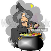 Witch Cooking a Potion in a Black Pot Clipart © djart #4334