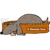Royalty-Free (RF) Clipart Illustration of a Tired Pooch Resting In A Doggy Bed © Dennis Cox #433477