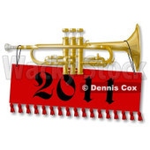 Royalty-Free (RF) Clipart Illustration of a New Year Trumpet With A 2012 Banner © djart #433478