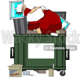 Royalty-Free (RF) Clipart Illustration of Santa Digging Through Trash In A Dumpster © djart #433480