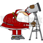 Royalty-Free (RF) Clipart Illustration of Santa Looking Through A Telescope © Dennis Cox #433596