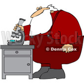 Royalty-Free (RF) Clipart Illustration of Santa Standing And Using A Microscope © Dennis Cox #433599