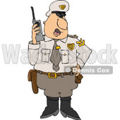 Male Cop In Uniform, Talking On a Portable CB Radio Clipart © Dennis Cox #4337