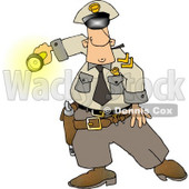 Graveyard Shift Police Officer Shinning His Flashlight at Something Clipart © djart #4340
