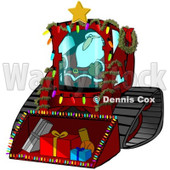 Royalty-Free (RF) Clipart Illustration of Santa Operating A Bobcat Machine With Gifts In The Bucket © Dennis Cox #434247