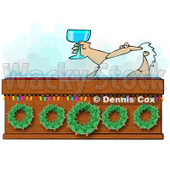 Royalty-Free (RF) Clipart Illustration of Santa Toasting With Wine In A Hot Tub © djart #434248