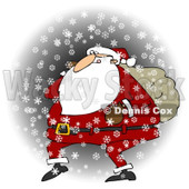 Royalty-Free (RF) Clipart Illustration of Santa Walking In The Snow With One Arm Carrying A Sack Over His Shoulder © djart #434249