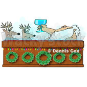 Royalty-Free (RF) Clipart Illustration of Santa Toasting To Reindeer With Wine In A Hot Tub © Dennis Cox #434252