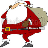 Royalty-Free (RF) Clipart Illustration of Santa Walking With One Arm Carrying A Sack Over His Shoulder © djart #434253