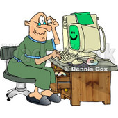 Puzzled Grandpa Using a Computer Clipart © djart #4343