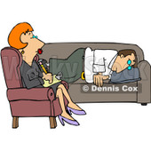Royalty-Free (RF) Clipart Illustration of a Red Haired Psychotherapist Listening To A Depressed Man © djart #434420