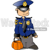 Boy Wearing a Police Officer Costume On Halloween Clipart © djart #4346