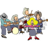 Country Western Band Playing Country Music Clipart © Dennis Cox #4347