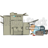 Repairman Trying To Fix a Broken Copy Machine Clipart © djart #4348