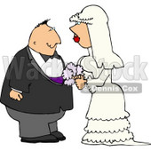 Young Man and Woman Looking at Each Other Before Getting Married Clipart © Dennis Cox #4349