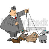 Businessman Walking Four Dogs On Leashes Clipart © djart #4352