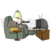 Funny Dog Sitting In a Recliner with a Beer, Changing TV Channels with Remote Controller Clipart © Dennis Cox #4353