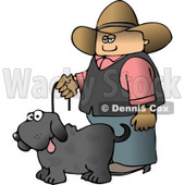 Cowboy Walking Pet Dog On a Leash Clipart © djart #4354