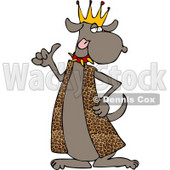 Dog King Wearing Leopard Skin Robe and Spike Collar Clipart © Dennis Cox #4355