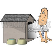 Businessman In the Doghouse Clipart © Dennis Cox #4357