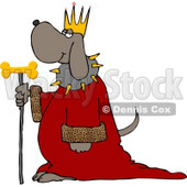 Dog Wearing King's Crown, Royal Red Robe, and Holding a Gold Milk-Bone Staff Clipart © Dennis Cox #4358