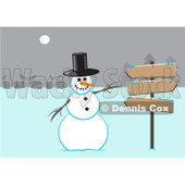 Royalty-Free (RF) Clipart Illustration of a Winter Snowman Wearing A Top Hat And Gesturing To Wooden Signs Near A Village © Dennis Cox #435836