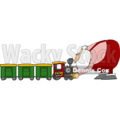 Royalty-Free (RF) Clipart Illustration of Santa Assembling A Toy Train © djart #435837