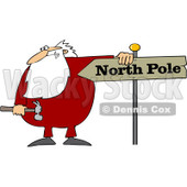 Royalty-Free (RF) Clipart Illustration of Santa Holding A Hammer And Resting His Arm On A North Pole Sign © djart #435994