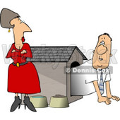 Upset Wife Watching Husband Crawl Our of the Doghouse Clipart © Dennis Cox #4360
