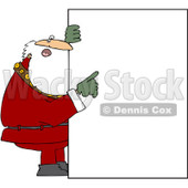 Royalty-Free (RF) Clipart Illustration of Santa Holding Up A Big Sign And Pointing © Dennis Cox #436090