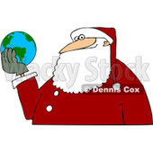 Royalty-Free (RF) Clipart Illustration of Santa Holding A Globe In His Hands © djart #436091