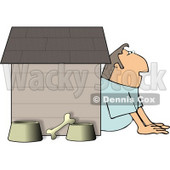 Husband In Trouble with His Wife, Sitting Outside of a Doghouse with a Bone and Food & Water Bowls Clipart © djart #4361