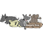 Group Of Five Dogs Clipart © Dennis Cox #4362
