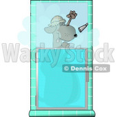 Funny Dog Showering Himself Clipart © Dennis Cox #4363