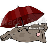 Happy Summertime Dog Laying at the Beach Under an Umbrella Clipart © djart #4364