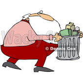 Royalty-Free (RF) Clipart Illustration of Santa Taking Out The Trash © Dennis Cox #436808